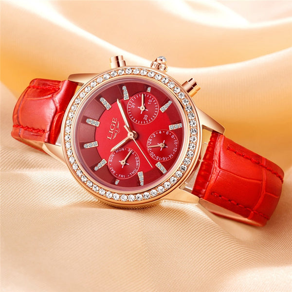 LIGE Top Luxury Brand Women Wristwatch Fashion Casual Leather Quartz Wristwatch Ladies Diamond Dress Wristwatches Female gifto