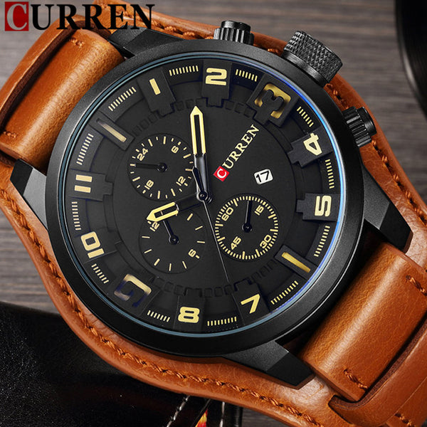 CURREN Date Men Wristwatch Top Luxury Brand Sport Military Business Casual Male Leather Band  Quartz Mens Wristwatches