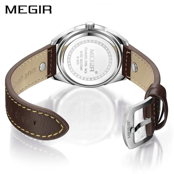 MEGIR Brand Quartz Men Wristwatch   Leather Strap Military Business Wrist Wristwatches Men Hour Time Erkek Kol Saati