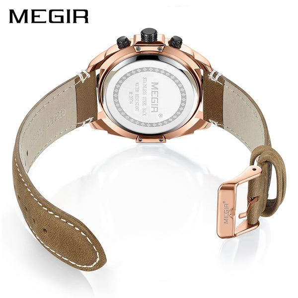 MEGIR Creative Sport Wristwatch Men   Fashion Chronograph Quartz  Wristwatches  Hour Leather Military Army Wristwatch