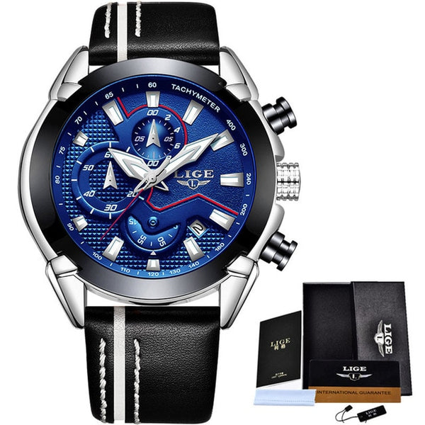 New LIGE Sport Chronograph Mens Wristwatches Top Brand Luxury  Leather Waterproof Date Quartz Wristwatch Man