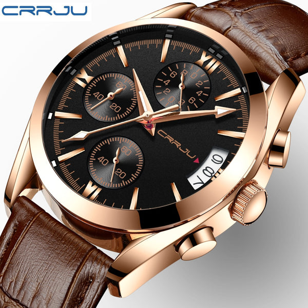 CRRJU Wristwatch Men Sport Quartz Fashion Leather Wristwatches Mens Wristwatches Top Brand Luxury Chronograph Business Wristwatch