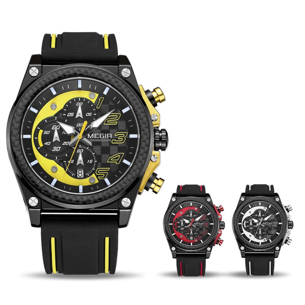 MEGIR Army Military Wristwatches Fashion Chronograph Men Sport Wristwatch Silicone Strap Quartz Wristwatches  Men