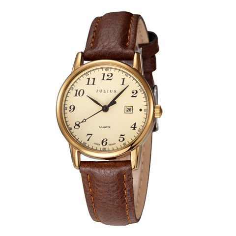Top Julius Women's Wristwatch Japan Quartz Hours Auto Date Fine Fashion Woman Clock Real Leather Strap Girl's Retro Birthday Gift Box