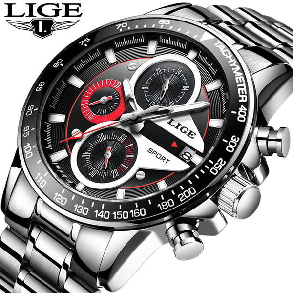 LIGE Fashion Quartz Sport Wristwatch Men Business Full Steel  Mens Wristwatches Top Brand Luxury Waterproof Wristwatch