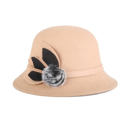 BINGYUANHAOXUAN Autumn Winter Woolen Felt Hats With Flower For Women Elegant Wide Brim Hats Female Raw Anti-wool Women Hat Bones