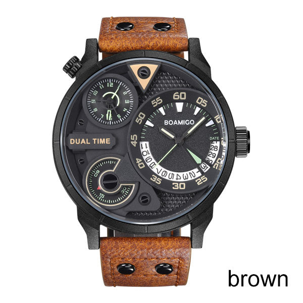 mens watches fashion men sport quartz watch BOAMIGO brand dual time date wristwatches leather strap waterproof relogio masculino
