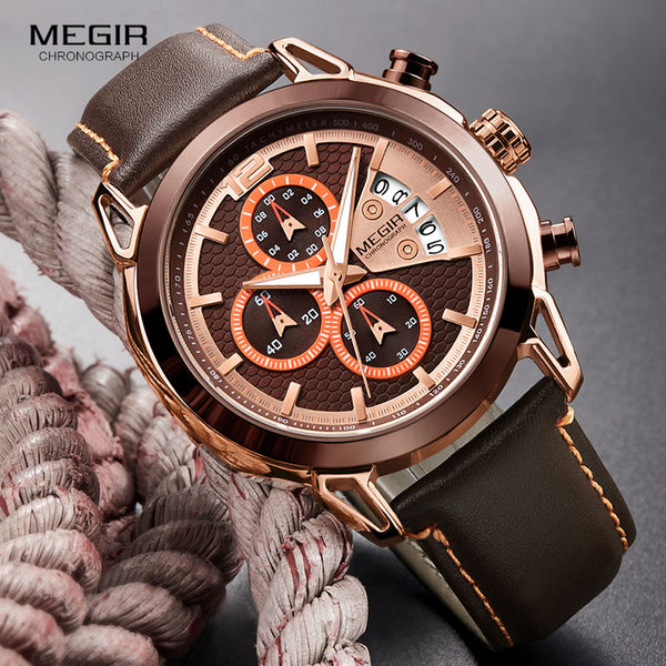 MEGIR Men's Fashion Chronograph Wristwatches Luminous Hands Waterproof Analogue Quartz Wrist Wristwatch for Man Date Indicator 2071GREBN