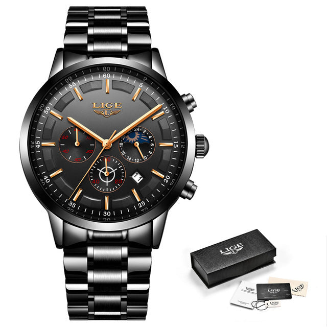 LIGE Wristwatch Men Fashion Sport Quartz Mens Wristwatches Top Brand Luxury Full Steel Business Waterproof Wristwatch