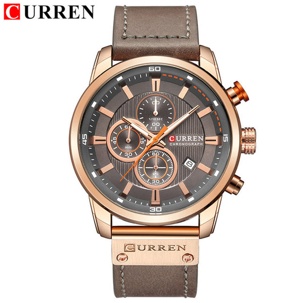 Top Brand Luxury CURREN  Fashion Leather Strap Quartz Men Wristwatches Casual Date Business Male Wristwatches