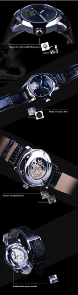 Winner Blue Ocean Geometry Design Transparent Skeleton Dial Mens Wristwatch Top Brand Luxury Automatic Fashion Mechanical Wristwatch