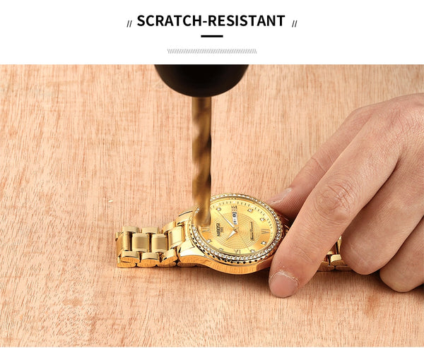 NIBOSI Mens Wristwatches Top Luxury Brand For Men Square Waterproof Gold Wristwatch Quartz Sport Wristwatches Stainless Steel Saat