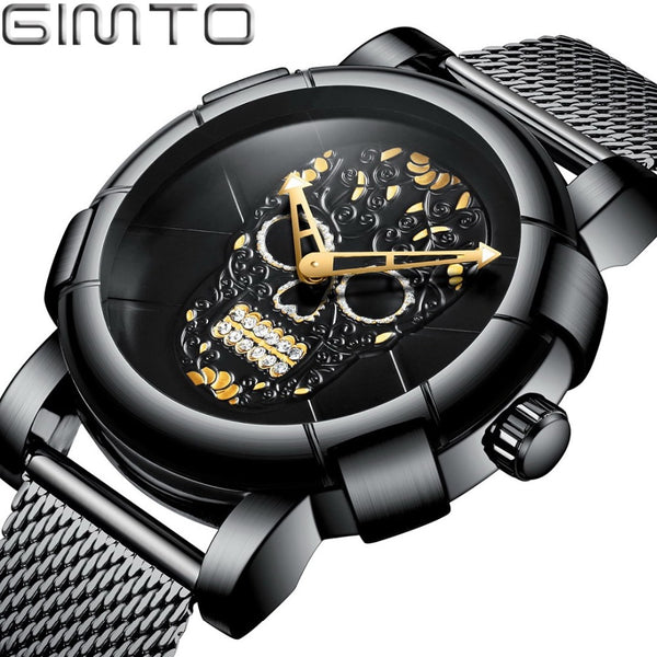 Stylish Men Skull  Wristwatch Punk 3D Pattern Gold Wristwatch Men Rhinestone Stainless Steel Fashion Casual Male Wristwatch Waterproof GM244