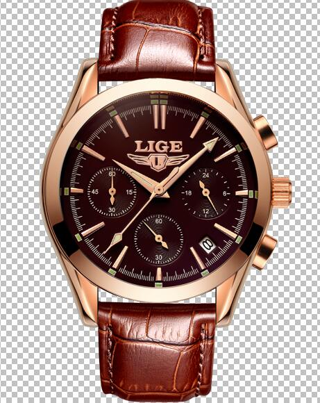 New LIGE Mens Wristwatches, Leather Strap Waterproof 6 styles