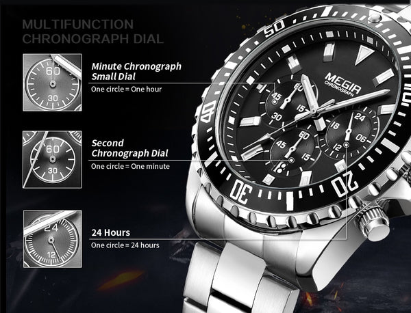 MEGIR Top Luxury Brand Wristwatch Men Analog Chronograph Quartz  Wristwatch Full Stainless Steel Band Wristwatch Auto Date