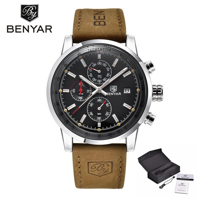 BENYAR Chronograph Sport Mens Wristwatches Top Brand Luxury Quartz Wristwatch All Pointers Work Waterproof Business Wristwatch BY-5102M