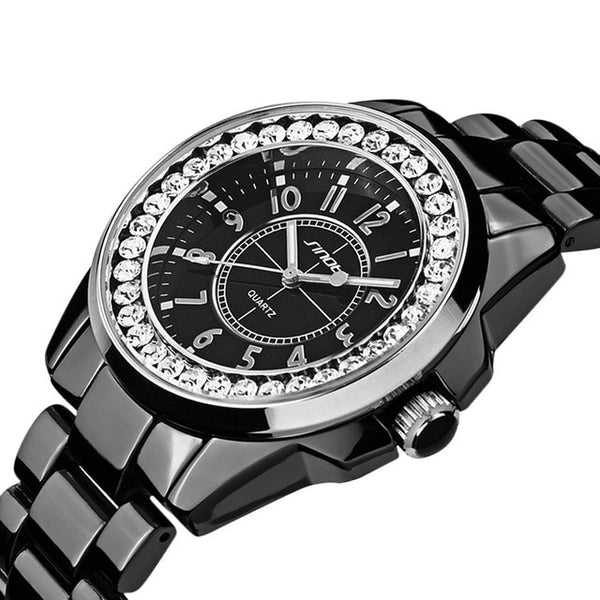 Bling Rhinestone SINOBI Luxury steel Quartz Wristwatch Women  female Ladies Dress Wristwatch Gift Silver Gold  es mujer