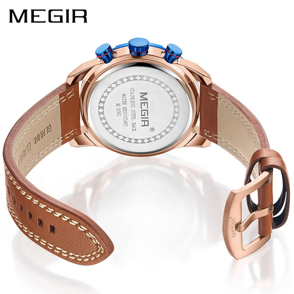 MEGIR Creative Chronograph Sport Wristwatch Men  Leather Quartz Men Wrist Wristwatches Time Hour Army Military Wristwatches Relogios