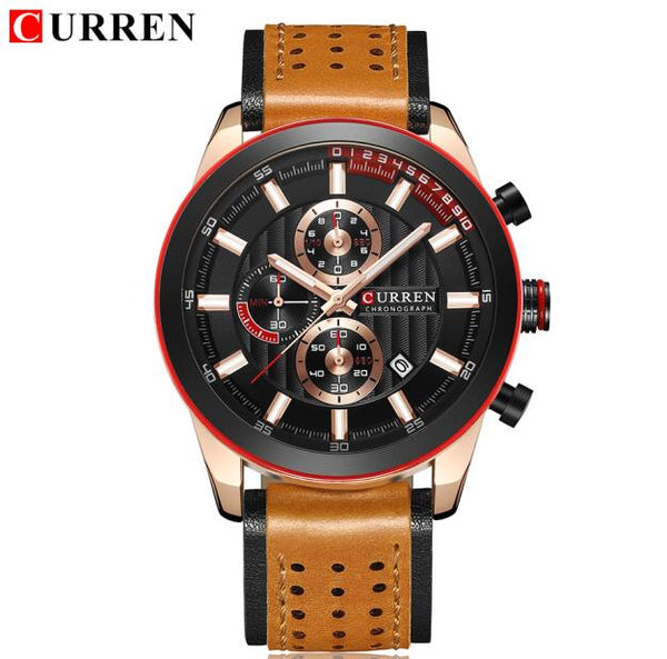 CURREN New Men Wristwatch Luxury Fashion Quartz Writ Wristwatches Men's Sports Chronograph Analog