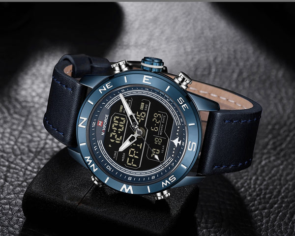 Mens Wristwatches Top Brand NAVIFORCE Men Fashion Sport Wristwatch Male Waterproof Quartz Digital Led  Mens Military Wristwatch