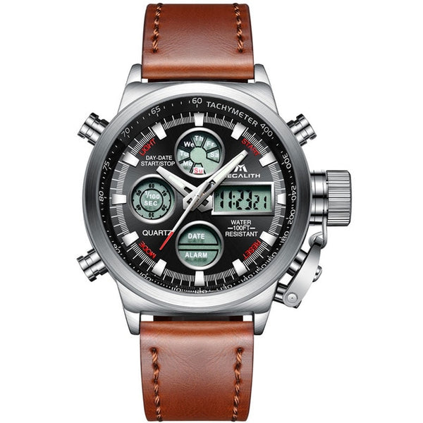MEGALITH Wristwatch Men Military Sports Waterproof Wristwatch LED Digital Multifunction Wristwatch Male  Brown Genuine Leather Wristwatch