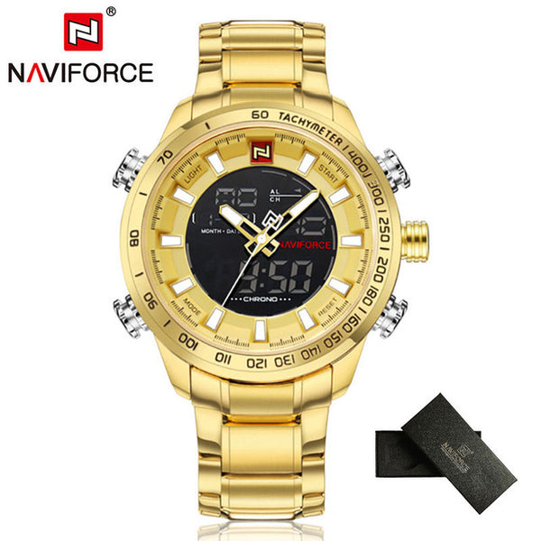 NAVIFORCE Top Brand Mens Gold Quartz Wristwatch Wristwatch Men Army Military Sports Wristwatches Man Full Steel Waterproof relogio masculino