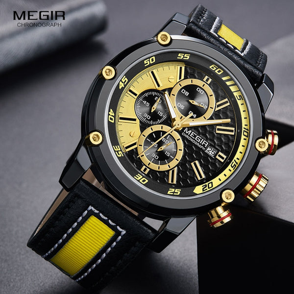 MEGIR Men's Premium Waterproof Luminous Quartz Wristwatches Fashion Leather Strap Yellow Chronograph Wristwatch for Man 2079G1N3