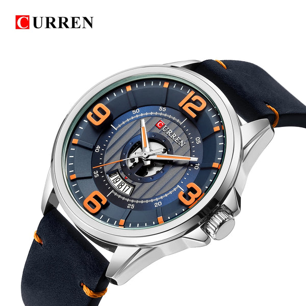 CURREN fashion top new Luxury Brand   week Date diaplay Leather strap Men Sports Wristwatches Quartz