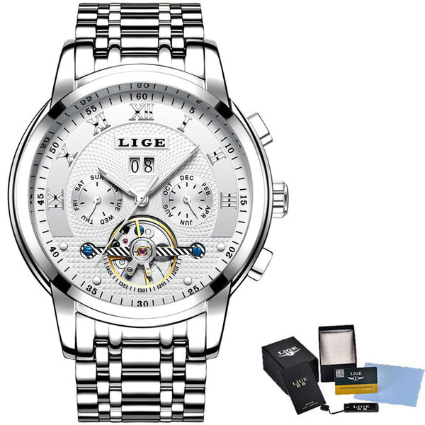 LIGE Mens Wristwatches Top Brand Luxury Automatic Mechanical Wristwatch Men Full Steel Business Waterproof Sport Wristwatches