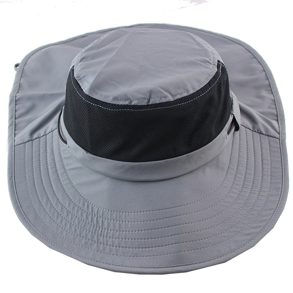 Summer Sun Hat Bucket Men Women Boonie Hat with Neck Flap Outdoor UV Protection Large Wide Brim Hiking Fishing Mesh Breathable