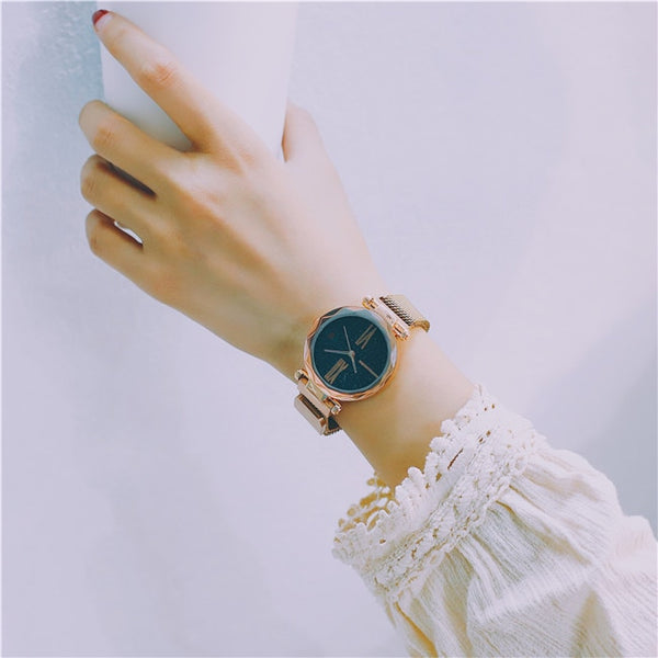 Luxury Rose Gold Women Wristwatches Minimalism Starry sky Magnet Buckle Fashion Casual Female Wristwatch Waterproof Roman Numeral