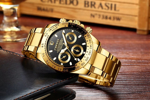 Fashion Luxury Top Brand CHENXI Men's Gold Wristwatch Black Stylish 30 Meter Waterproof Luminous Hands Casual Male Golden Wristwatch