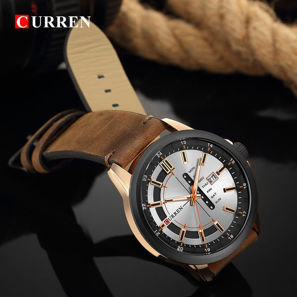New Mens Wristwatches CURREN Unique Fashion Design Dial Quartz Wristwatch Leather Strap Wristwatch Display Date and Week Green