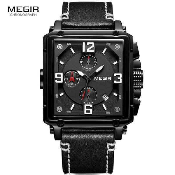 MEGIR Men's Sports Chronograph  Wristwatch for Men Army Leather Square Quartz Stop Wristwatch