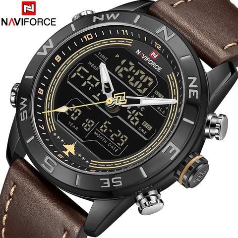 2018 New Men Watches NAVIFORCE Top Luxury Brand Men's Fashion Sport Watch Male Leather Quartz Analog LED Relogio Masculio