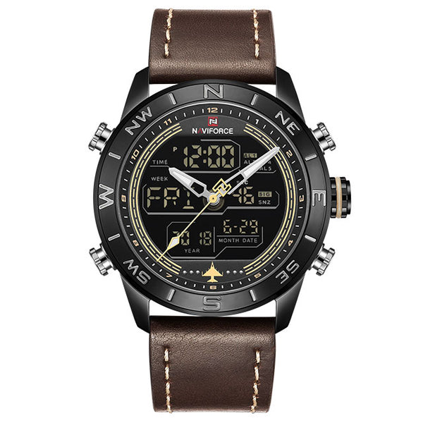 New Men Wristwatches NAVIFORCE Top Luxury Brand Men's Fashion Sport Wristwatch Male Leather Quartz Analog LED  Masculio