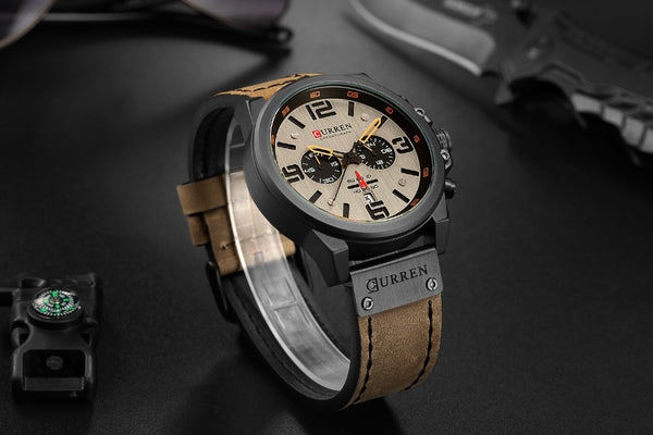 CURREN 8314 Fashion Leather Strap Quartz Men Wristwatches