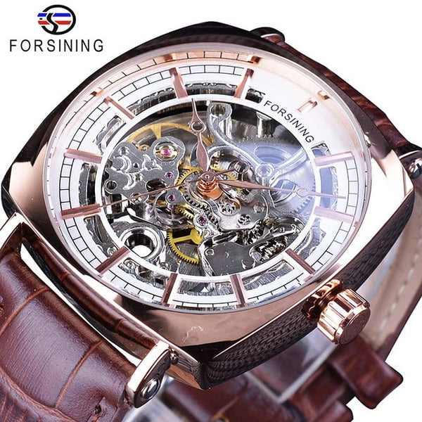 Forsining Black Genuine Leather Fashion Royal Luxury Gold  Transparent Skeleton Men Automatic Mechanical Wristwatches Top Brand