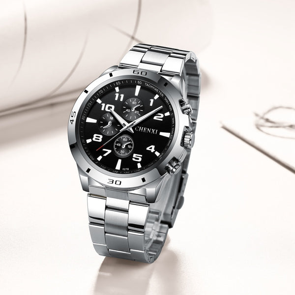 CHENXI Fashion Men Wristwatches Unique Stylish Male Sport Casual Dress Sport Wristwatch Waterproof Big Dial Silver Men's