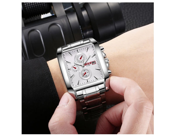 Bosck Rectangle Fashion Men Wristwatch Stainless Steel Wristwatchband Casual Business Wristwatches Sports Waterproof Big Dial Male Wristwatches