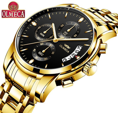 OLMECA Men Wristwatch Luxury Wristwatches  3ATM Waterproof Wristwatches Calendar Wristwatch For Men Stainless Steel Band Saat