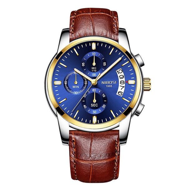 NIBOSI Mens Wristwatches Top Brand Luxury Dress Famous Brand Wristwatch Men Waterproof Calendar/Luminous Wristwatch gold Men