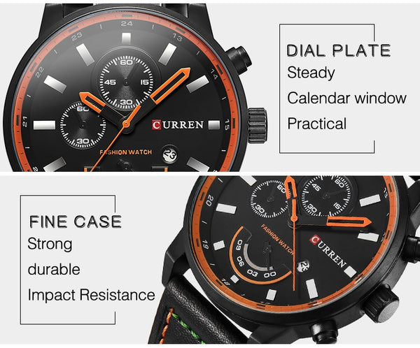 Curren Army Military Quartz Mens Wristwatches Top Brand Luxury Leather Men Wristwatch Casual Sport Male