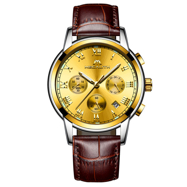 MEGALITH Wristwatches Men Waterproof Stainless Steel Luxury Analogue  Wristwatches Chronograph Date Sport Quartz Wristwatches Montre Homme