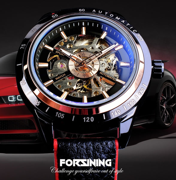 Forsining Motorcycle Design Transparent Genuine Red Black Belt Waterproof Skeleton Men Automatic Wristwatches Top Brand Luxury