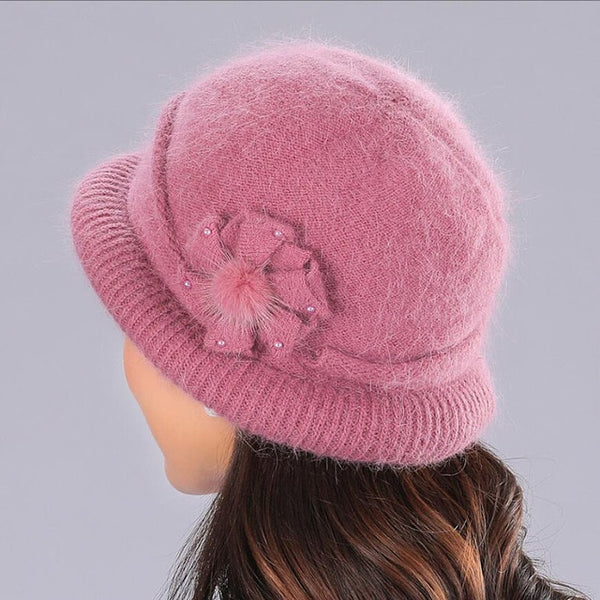 BING YUAN HAO XUAN Flower Knitted Hat Female Solid color Scarf and Hats Womens Winter Thick Warm Beanies Ms. Middle Age Caps