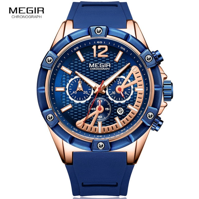 MEGIR Men's Sports Chronograph Quartz Wrist Wristwatches Army Silicone Waterproof Stopwatch Relojios Masculinos Man MN2083-2N0