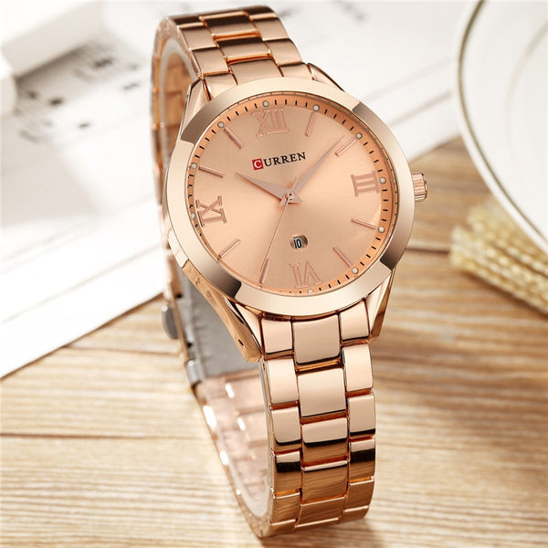 CURREN Women Wristwatches Top Brand Luxury Gold Ladies Wristwatch Stainless Steel Band Classic Bracelet Female Wristwatcho 9007