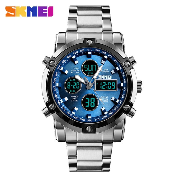 SKMEI Analog Digital Wristwatches Men Led Full Steel Male Wristwatch Men Military Wristwatch Quartz Sports Wristwatch   SKMEI