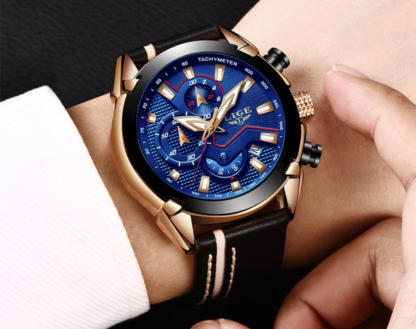 Reloje LIGE Brand Men's Chronograph Analog Quartz Wristwatch with Date, Luminous Hands, Waterproof Leather Strap Wristswatch for Man